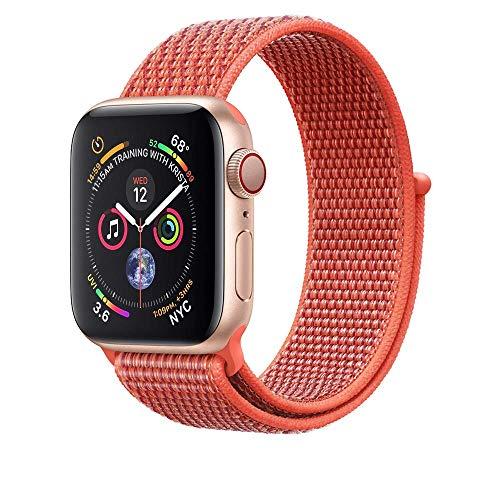 Sport Nylon Soft Bracelet 44mm for Apple Watch, Breathable Mesh Easy Adjustable Watch Band Replacement Wrist Bangle Watch for iWatch Series 4 3 2 1 + Displayschutz ×2 (44MM, Nektarine)