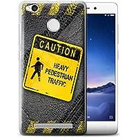 Custodia/Cover/Caso/Cassa Gel/TPU/Prottetiva STUFF4 stampata con il disegno Cartelli Stradali Divertenti per Xiaomi Redmi 3X - Pesante Pedonale