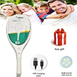 Mosquito bats rechargeable with USB charging cable ( MOBILE CHARGER for charging) and bright led light   premium swatter bat Rechargeable Electronic Insect Killer Trap Bat with Torch (Large) (with light)   (new design with cable wire,triple layer net),electric mosquito bat with rechargeable with high duration battery power (10 hr),with torch high power led torch (free gift of worth 50 rupee) sold by ONBN(TM)