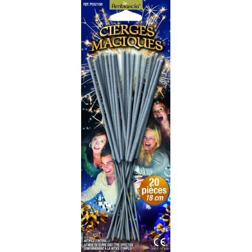 Cierges magiques - blister de 20 pièces - longueur 18 cm - durée unitaire 45 secondes - Catégorie F1 7106894891595