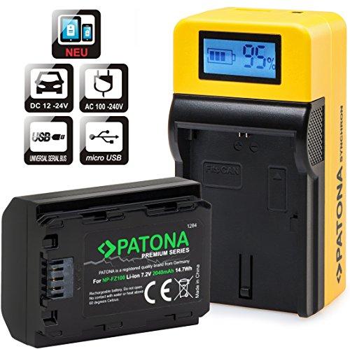 PATONA Premium - Ersatz für Akku Sony NP-FZ100 (2040mAh) - und PATONA Top LCD Ladegerät - zu Alpha 7 III / Alpha 7R III / Alpha 9
