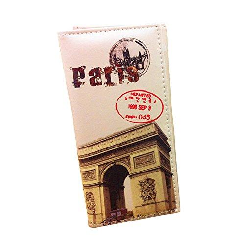 Minetom Donne Moda Torre Città Lungo PuinPelleTitolareDellaCartaPochettePortafoglioBorsa Zip Borsa di Denaro Multifunzionale Paris 2