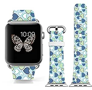 Iwatch bands 38mm,38mm Genuine Leather Strap Wrist Band Replacement W Silver Metal Clasp for Apple Watch All Models 38mm - Colorful Love On Your Band