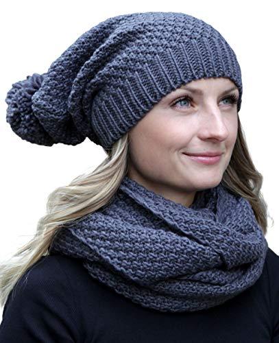 Hilltop Winter Kombi Set aus Winter Schal und passender Strickmütze/Beanie mit Pompon/versch. Designs, Winter Set:Dunkelgrau