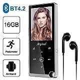 Aigital Lecteur MP3 Musical 16Go Haut-Parleur Bluetooth 4.2 avec Boutons Tactiles, 2.4 TFT Écran, Lecteur Audio sans Perte HiFi avec Radio FM, Podomètre, E-Book, Enregistreur Vocal, jusqu'à 128 Go