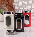 Dynore Stainless Steel Canister Set, Set of 3, Silver (DS 387)