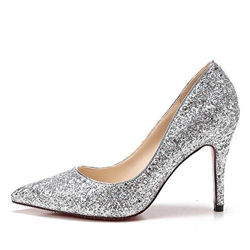 MUYII Frauen Cinderella Kristall High Heels Braut Hochzeit Schuhe Feine Stiletto Glitter Sandalen,Silver-9.5CM-33 (Rote Janes Mary Glitter)