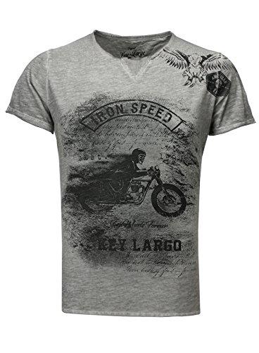 Key Largo Herren T-Shirt Iron Speed Vintage Look Printshirt Motorrad Biker Adler Racing Grau M -