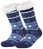 style3 Compagno warme Kuschelsocken mit ABS Anti Rutsch Sohle Wintersocken Herren Damen Socken 1 Paar Einheitsgröße, Farbe:Rentier 1 Marine