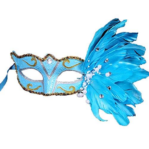 rty / Halloween/Weihnachts Maske Masquerade Maske bemalte Maske mädchen Geburtstag augenbinde blau ()