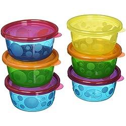 The First Years Y1032MP - Pack de 7 recipientes con tapa para alimentos, 236 ml