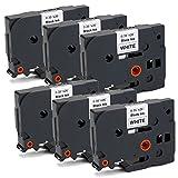 OfficeWorld 6 x Kompatibel Brother TZe-221 Schriftband TZe221 TZ221 Etikettenband Schwarz auf weiß für Brother P-Touch PT-1010 PT-1000 PT-1280 PT-H105 PT-P700 PT-1090 PT-E100VP PT-H75, 9mm x 8m