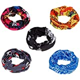 Acceptive's Bandana Bikers Motorcycle Riding Neck Face Mask Protection Tube Head Bands (Pack of 5,Random Colours)