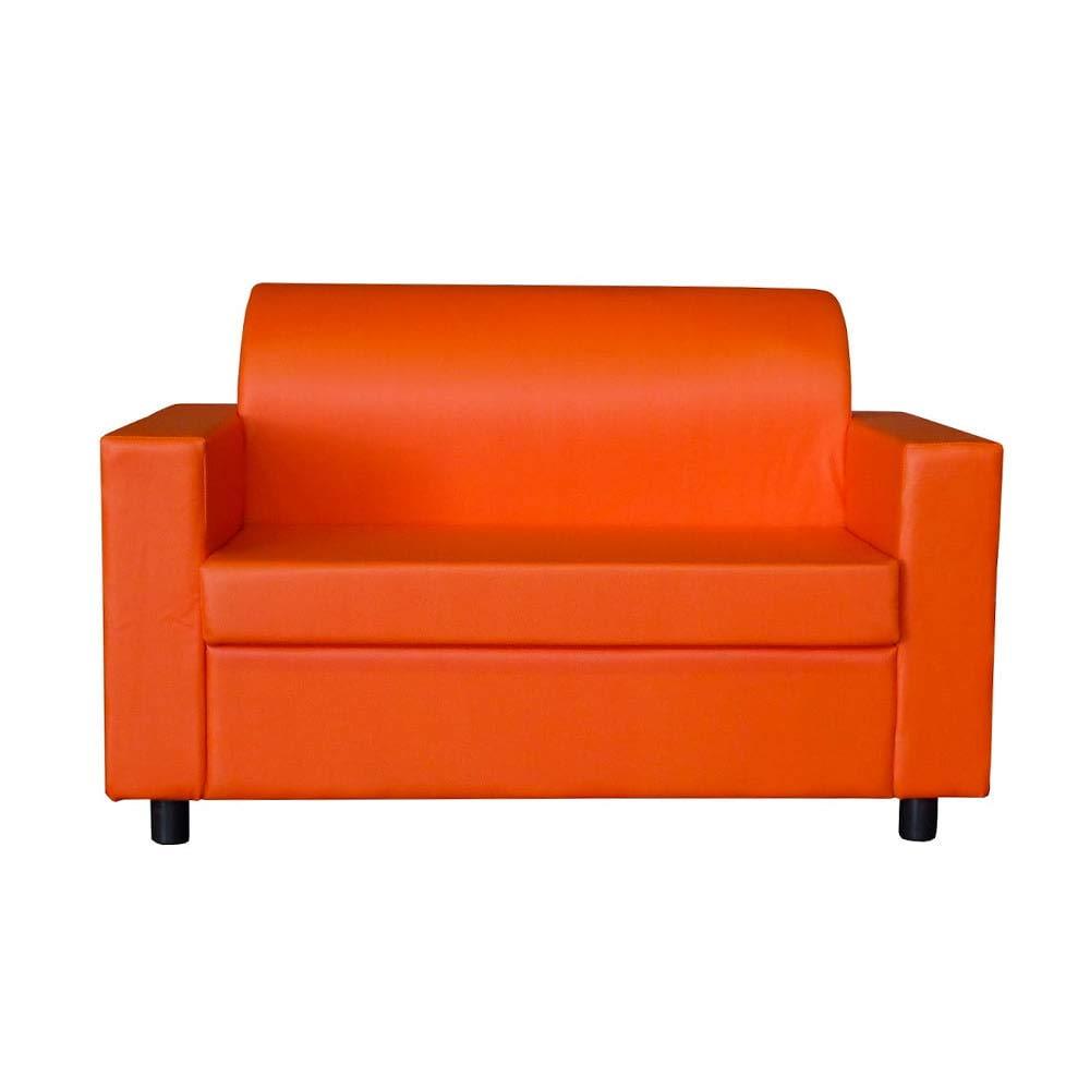 Divano 2 Posti Design.Visson Divano 2 Posti Con Braccioli Divanetto Attesa Design In Eco Pelle Arancione Casame