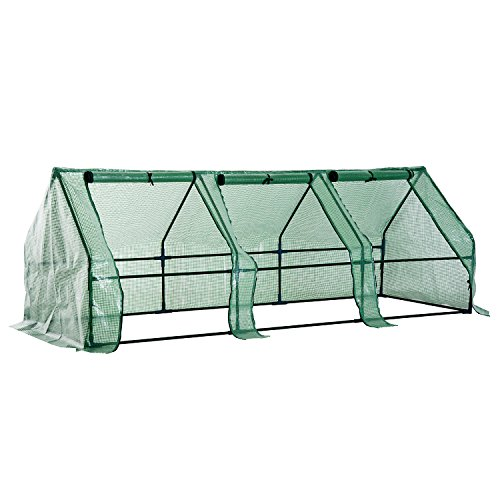 Outsunny serra da giardino per piante con telo in pe telaio in acciaio, 270x90x90cm, verde