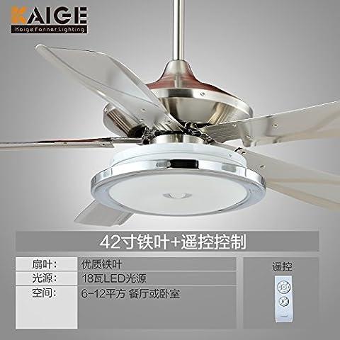 Ventilatore da soffitto nel soggiorno Sala da Pranzo ferro minimalista in foglia ELETTROVENTILATORE Dimmer LED Barbiere lampadario ventilatore