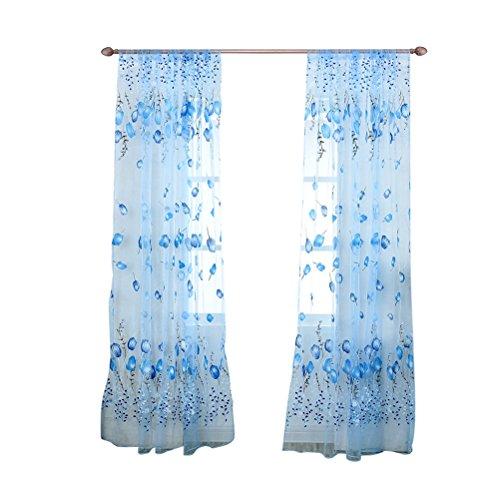Tenda di tulle,winomo tenda trasparente con fiori tulipano con occhiali 1x2m (azzurro)