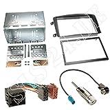Autoradio DOPPEL-DIN 2-DIN Radio Blende Einbaurahmen Radioblende schwarz + ISO Adapterkabel für Mercedes C-Klasse (W203) 03/00-03/04 CLK-Klasse (W209) 2002-06/2004 Vito (W639) Viano (W639) 2003-2006