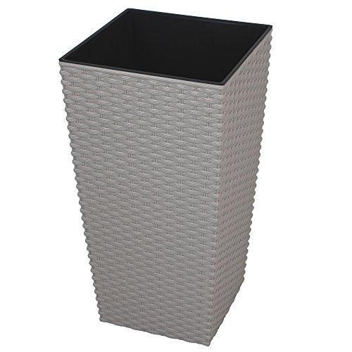 CrazyGadget® grande ratán de alto maceta de plástico cuadrada de jardín maceta de flores de interior y exterior negro, plástico, beige, 11.4L