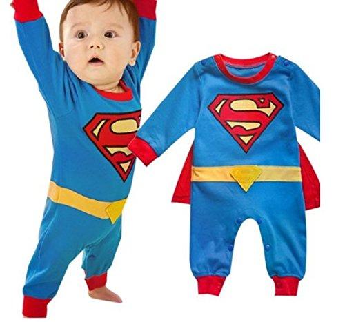 iikids Jumpsuit mit Umhang Kinder Unisex Superman-Form Baumwolle Langarmshirt Overall Baby Mädchen Junge Schlafanzug Strampler Spieler Blau 90