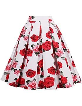 Profitd Mujer Faldas 18 Style Retro Print Flower Summer Skirts Womens 2018 Falda de Cintura Alta Vintage Elegant...