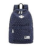 Canvas Backpack Travel School Shoulder Bag Dot Printing Teenage Girl's Bags for 14