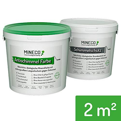 Mineco Anti Schimmel Farbe 2 m² / Weiß - Natürliche, Ökologische, Chlorfreie, Allergiker-geeignete Schimmelschutzfarbe Schimmelschutz Langzeit-Schutz Gegen Schimmel Flecken