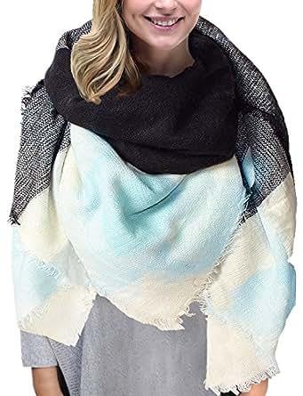Grand tartan echarpe mode femme plaid en laine tissu glands ch le oversize bleu - Echarpe plaid femme ...