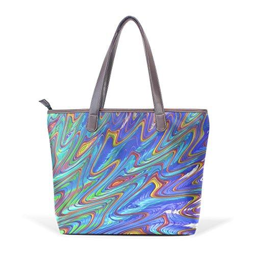 ... COOSUN Womens Fractal Art Zusammenfassung Pu Leder Tote Handtasche  Schultertasche L 2d9e52fcb3