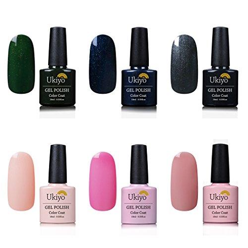 Ukiyo 6PCS empapa del color del esmalte uñas semipermanente desnudo del esmalte de uñas del gel ULTRAVIOLETA del LED 8ml