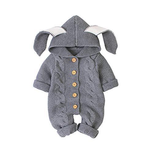 Haokaini Neugeborenes Baby Ohr Kapuze Gestrickte Strampler Overall Winter wärmer Schneeanzug für Jungen Mädchen (Grau 1, 3-6M)