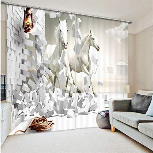WKJHDFGB Cortinas Horse Print Luxury Blackout 3D Ventana
