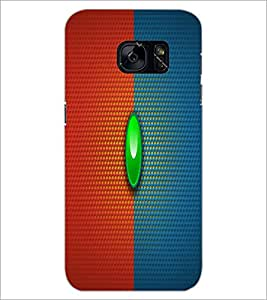 PrintDhaba Red Blue pattern D-1676 Back Case Cover for SAMSUNG GALAXY S7 (Multi-Coloured)