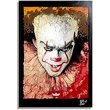 Pennywise Il Clown del Film IT (2017) - Quadro Pop-Art Originale con Cornice, Dipinto, Stampa su Tela, Poster, Locandina, Horror, Halloween