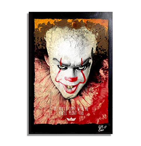 Pop Comics Kostüm Art - Clown Pennywise aus Film Es (2017) - Original Gerahmt Fine Art Malerei, Pop-Art, Poster, Leinwand, Artwork, Film Plakat, Leinwanddruck, Horror, Halloween