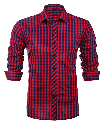 Schonlos karierte Hemden Herren Langarm Hemd aus reiner Baumwolle slim fit Shirts Party Freizeit Casual(42, BLR)