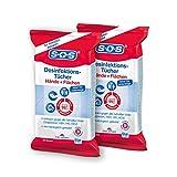 SOS Desinfektionstücher (2x25 Tücher) - zur Desinfektion von Händen, Haut und Flächen