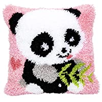 """Beyond Your Thoughts Latch Hook Kits Cushion Cover Rug Making Kits DIY for Kids/Adults with Printed Canvas Pattern 16"""" X 16"""" Panda"""
