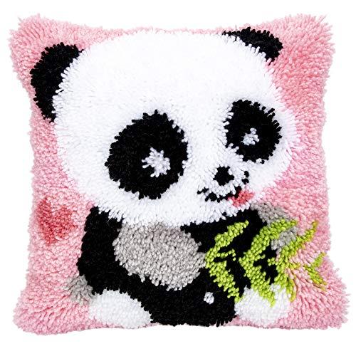 Knüpfkissen für Kinder und Erwachsene zum Selber Knüpfen DIY Kissen Latch Hook Kit Panda 42 x 42 cm ()