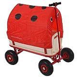 Bollerwagen Handwagen Leiterwagen Oliveira ~ mit Sitz, mit Bremse, Dach Marienkäfer rot