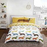 """""""Sleepscene"""" - Duvet-Bettbezugsset, bedruckt mit verschiedenen Tiermotiven in verschiedenen Designs und Größen (Set enthält jeweils Bettbezug und Kissenbezug)., Polycotton, Sausage Dog, Einzelbett"""
