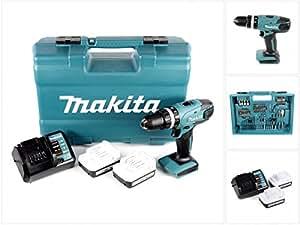 Makita HP347DX100 Perceuse visseuse à percussion en coffret avec 2 batteries/74 accessoires 14,4 V 1,3 Ah