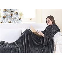 Antracite Comoda e confortevole Coperta in microfibra con le maniche e tasche, 260 gsm estremamente morbida e pratica TV libro cellulare, 170x200 Lazy