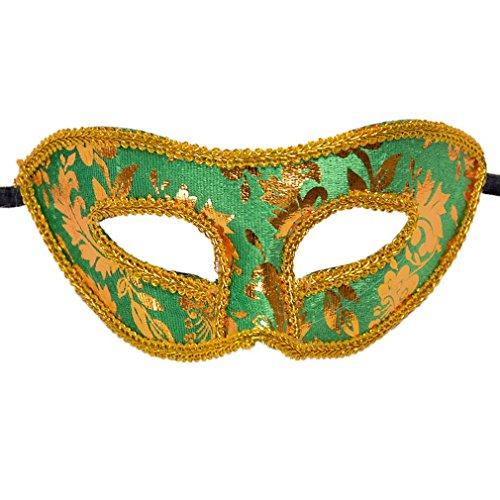 YAZILIND Mode Jazz-Stil Flanell Augenschild Halloween Party Kostüm Masquerade Halbgesicht Maske (grün)