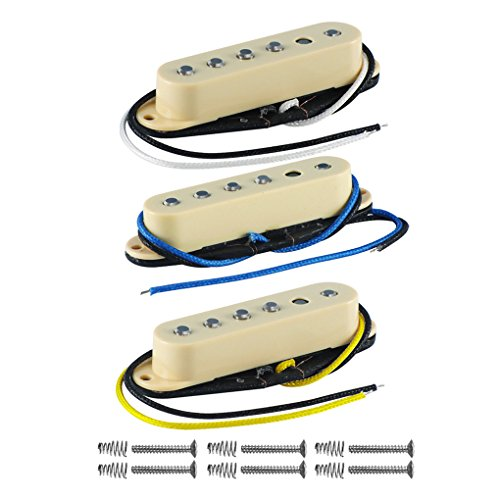 FLEOR Vintage Single Coil Gitarre Pickups Alnico 5Faser Teller Bobbin Polschuh Gitarre Staggered Tonabnehmer für E-Gitarre Ersatz Neck+Middle+Bridge cremefarben