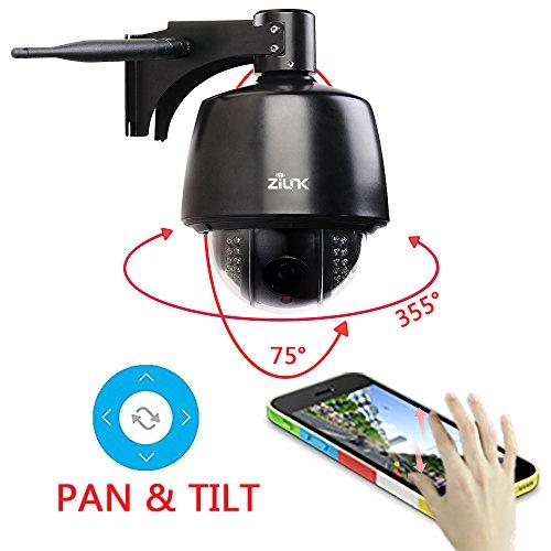 ZILNK IP Kamera Wireless Outdoor HD 1080P Schwenk/Neige/Zoom-Kamera, 5X Optischer Zoom, Autofokus, Nachtsicht, IP65 Wasserdicht, Bewegungswarnung