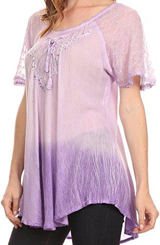 Sakkas Vilma lange Bluse mit bestickter Spitze Flügelärmel und Korsett-Gehege Lavendel
