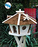 Vogelhaus BTV wetterfest, mit Silo / Futtersilo für Winterfütterung, XXL Vogelvilla Vöglehus große Vogelhäuschen, Futterstation aus Holz Vogelhäuschen, SR45duOS dunkelbraun braun ohne Ständer