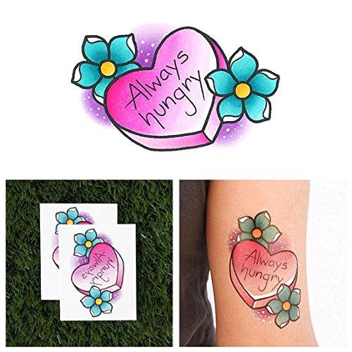 Tattify Tatouages Temporaires Bonbon Coeur - Gros Appetite (Set de 2)