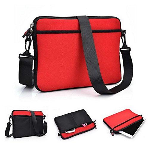 Kroo Schutzhülle/Tasche/Tablet Tragetasche Sleeve mit Schultergurt für Karbonn A34/A37, Lenovo ThinkPad T8Tablet rot rot / schwarz (Vintage Taschen Coach)